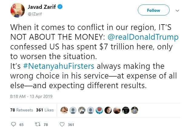Zarif censures Trump's support for Netanyahu at everyone's expense