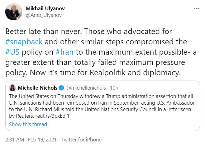 It's time for realpolitik, diplomacy: Ulyanov